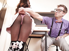 Ebony student Noemi Bilas gets ass fucked hard by white nerd