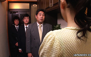 Housewife Reina Misaki is toyed by husband's employees