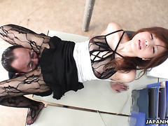 Asian stunner Rina Kikukawa puts on bodystocking as her boss told