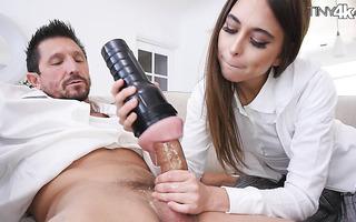 Riley Reid presents stepdad a fleshlight along with her creamy snatch