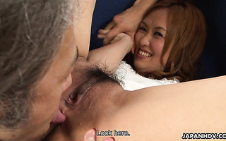 Shy Rui Fujiki gets her hairy vag stuffed with makeup tools