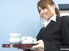Jap girl Saki becomes a cock sucking bukkake slut in office