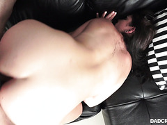 Chunky stepdaughter April Dawn gets her hairy cunt owned - POV