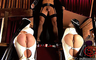 Priest in a hardcore reverse gangbang with latex nuns