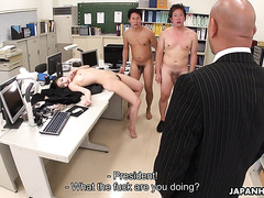 Leggy Jap babe Ryu is savagely fucked in office by coworkers
