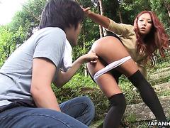 Ай Мизушима даёт ботанику в её загорелую японскую попку
