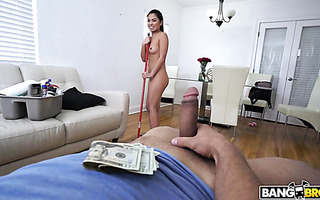 Asian housemaid Cindy Starfall is happy to fuck for cash in POV