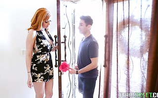 Redhead mistress Lauren Phillips turns young man into her human chair