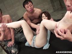 Ria Sakurai, curvy Asian slave, becomes a cum dumpster