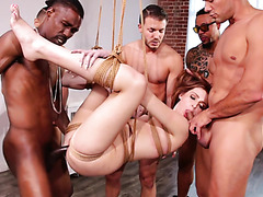 Ginger Maya Kendrick gets her big ass gangbanged in suspended bondage