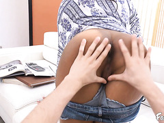 Jenna Foxx in daisy dukes gets her juicy black pussy railed