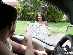 Busty ebony Diamond Monrow gives full service for 20$ car wash