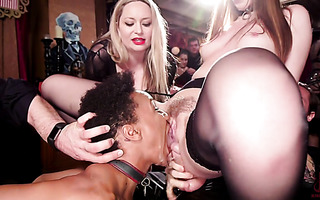 Anal fisting and squirting in face on kinky BDSM party