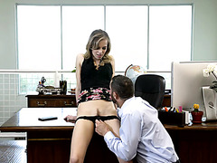 Jillian Janson is fully satisfied by coworker on desk