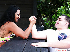 Strong MILF Ashton Blake is good at arm-wrestling and fucking