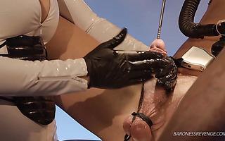 Mistress fucks slave's urethra with metal rod - BDSM sounding