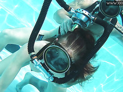 Doggystyle underwater and creampie with diver Minnie Manga