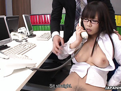 Mikuru Mio gets her hairy Japanese pussy toyed in office