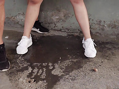Hot Asian Katana is fucked to squirting on a dirty alley