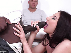 MILF Violetta is DPed by husband and black monster cock