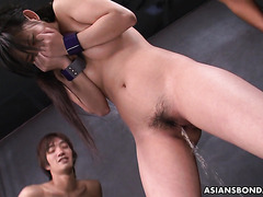 Gangbang slut Sayka in humiliating pissing and bukkake action