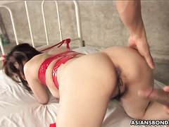 Runa Kanzaki swallows three loads after taking creampie in muff