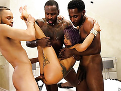 Little Asian Kimberly Chi is power fucked by black monster cocks