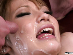 Bukkake addict Sena Aragaki is double creampied after rough sex
