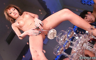 JAV Hina Otsuka fills champagne tower with piss after squirting toy fuck