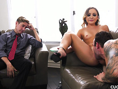 Cleo Vixen cums on big cock in front of depressed cuckold
