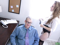 Saucy boss babe Lena Paul rewards hard worker with her beaver