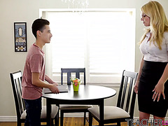 Divorced teacher Rachael Cavalli is fucked by cute student boy