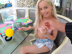 POV - skinny blond Elsa Jean works on big cock and swallows