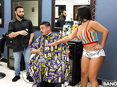 Bootyful wife Rose Monroe gets back at cheater by fucking his barber