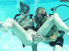 Minnie Manga enjoys underwater petting after sucking small cock