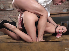 Tight ass of Lexi Lore is cum covered after unexpected anal