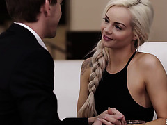 Elsa Jean serves lover her neat pussy on dessert