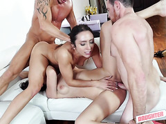Stepdaughters Audrey Royal and Lilly Hall fuck stepdads in foursome
