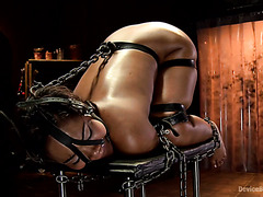 Ebony sub Chanell Heart is brought to orgasms in BDSM way