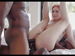 Redhead Maya Kendrick in double penetrated by big black cocks