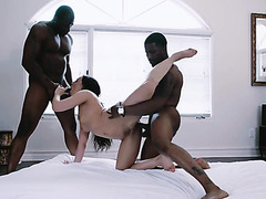 Whitney Wright is sensually double fucked by black boys