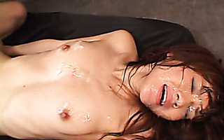 Appealing jap girl Mao Saito gets superb bukkake