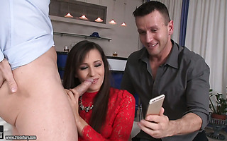 Cheeky slut Cindy Carson gets double teamed by her bf and his best friend