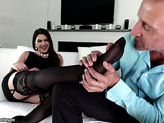 Horny fella worships fabulous feet of curvaceous lady Valentina Nappi