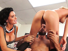 College girl gets fucked by fellow student with the help of female teacher