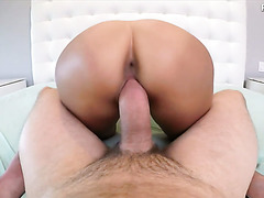 Asian whore Amy Parks getting fucked in her shaved pussy