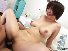 Cute busty Asian Meguru Kosaka gets her shaved pussy inseminated