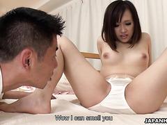 Chubby Asian cutie Karen Asakura earns double creampie