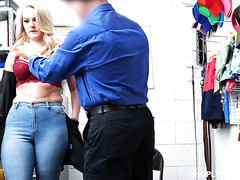 Lisey Sweet, thicc mature shoplifter, services security guy's dick