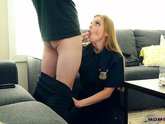 Cop stepmother Britney Amber handcuffs & fucks stepson POV